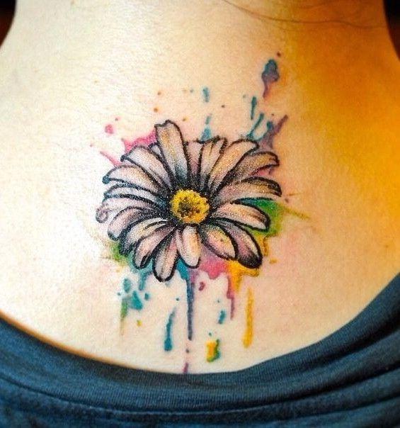 Pretty Daisy Tattoo: Marvellous Watercolor Daisy Tattoo Flower Tattoos Design
