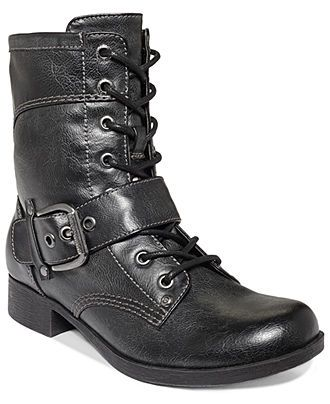 G by GUESS Boots, Bleeker Combat Booties - Boots - Shoes - Macy's
