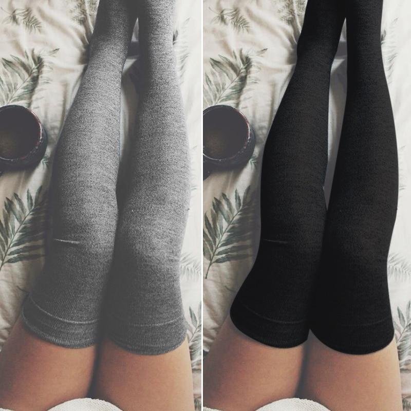 b98b5aa8e43 Sexy Women Stockings Cotton Over Knee Socks 2018 Autumn Winter Warm Thigh  High Long Socks Fashion Girls Black Stocking Medias