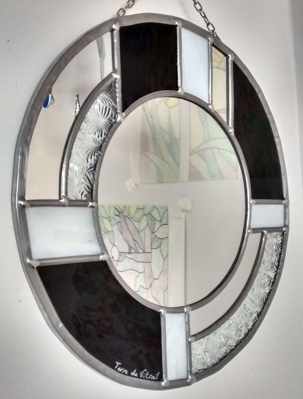 Miroir Vitrail Modeles miroir vitrail art déco rond montage traditionnel au plomb | vitrail