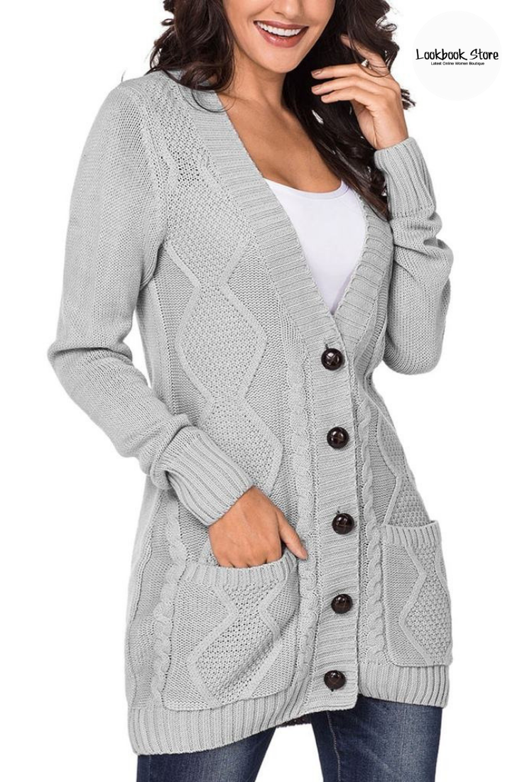 a5580ad160d113 Fall Style // Combine comfort and style as you choose to wear this grey front  pockets button-up cable knit cardigan in your closet.