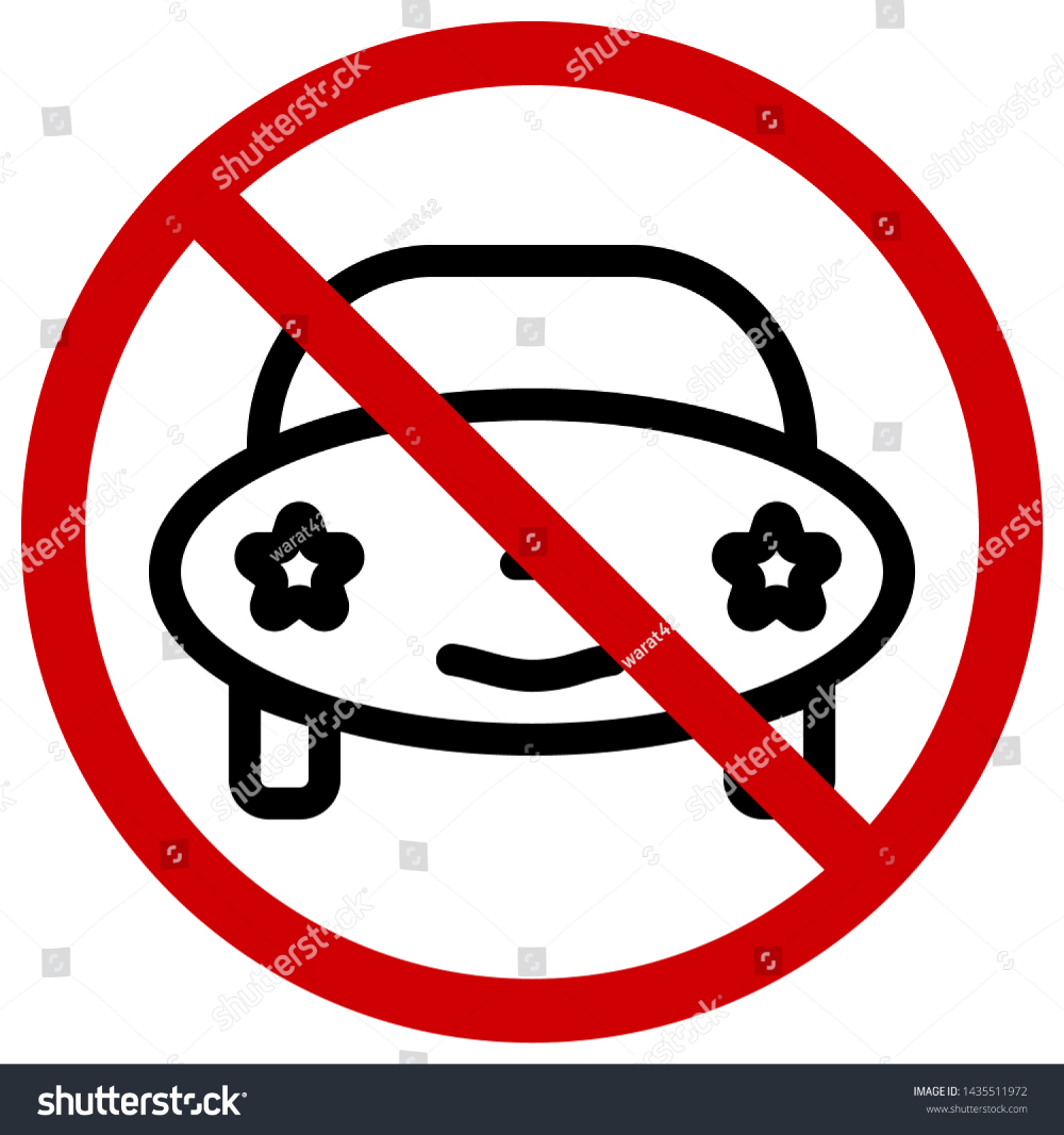 Red Circle Prohibition Signs For No Cars Icons Of The Future Or Cartoon Editable Stroke Vector