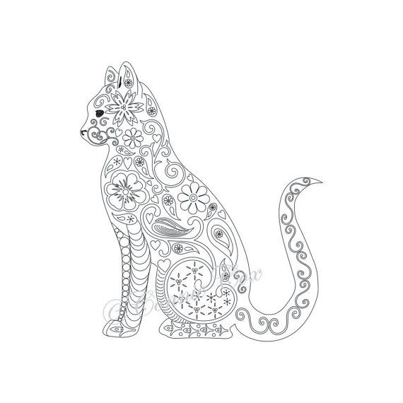 cat kitten adult coloring page instant pdf digital download print and - Coloring Pages Kittens Print