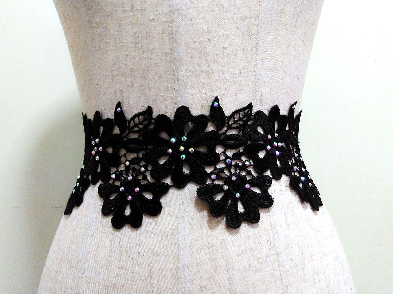 Handmade Purple Black Satin Wedding Prom GARTER Belt Fabric /& Rhinestone Flower