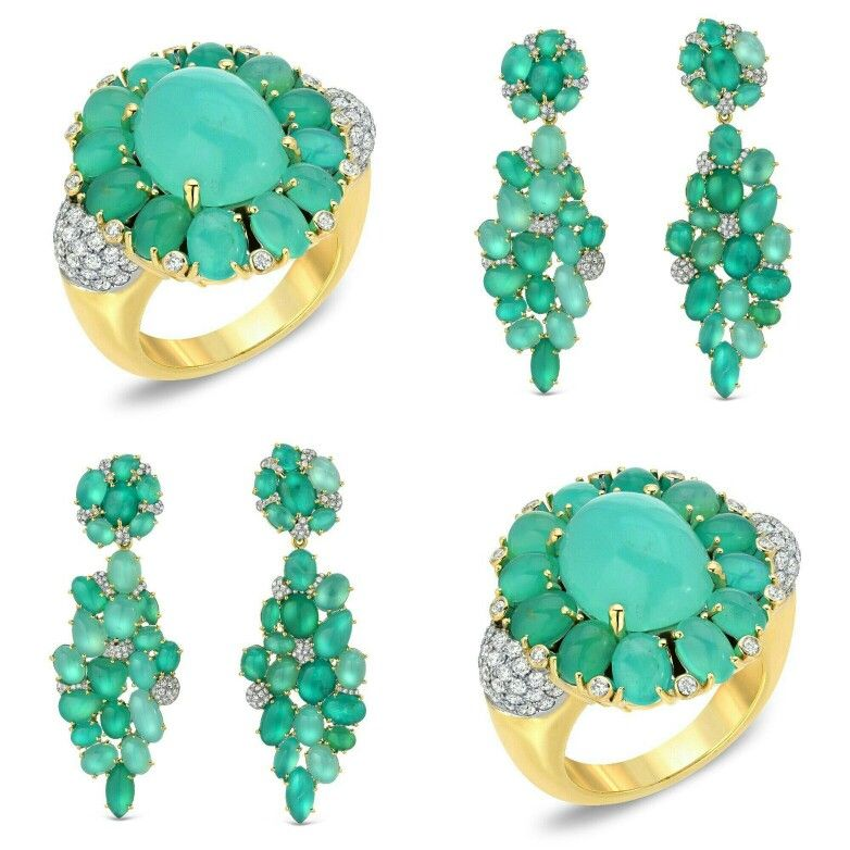 Victor Velyan Green opal and diamond ring and a pair of earrings