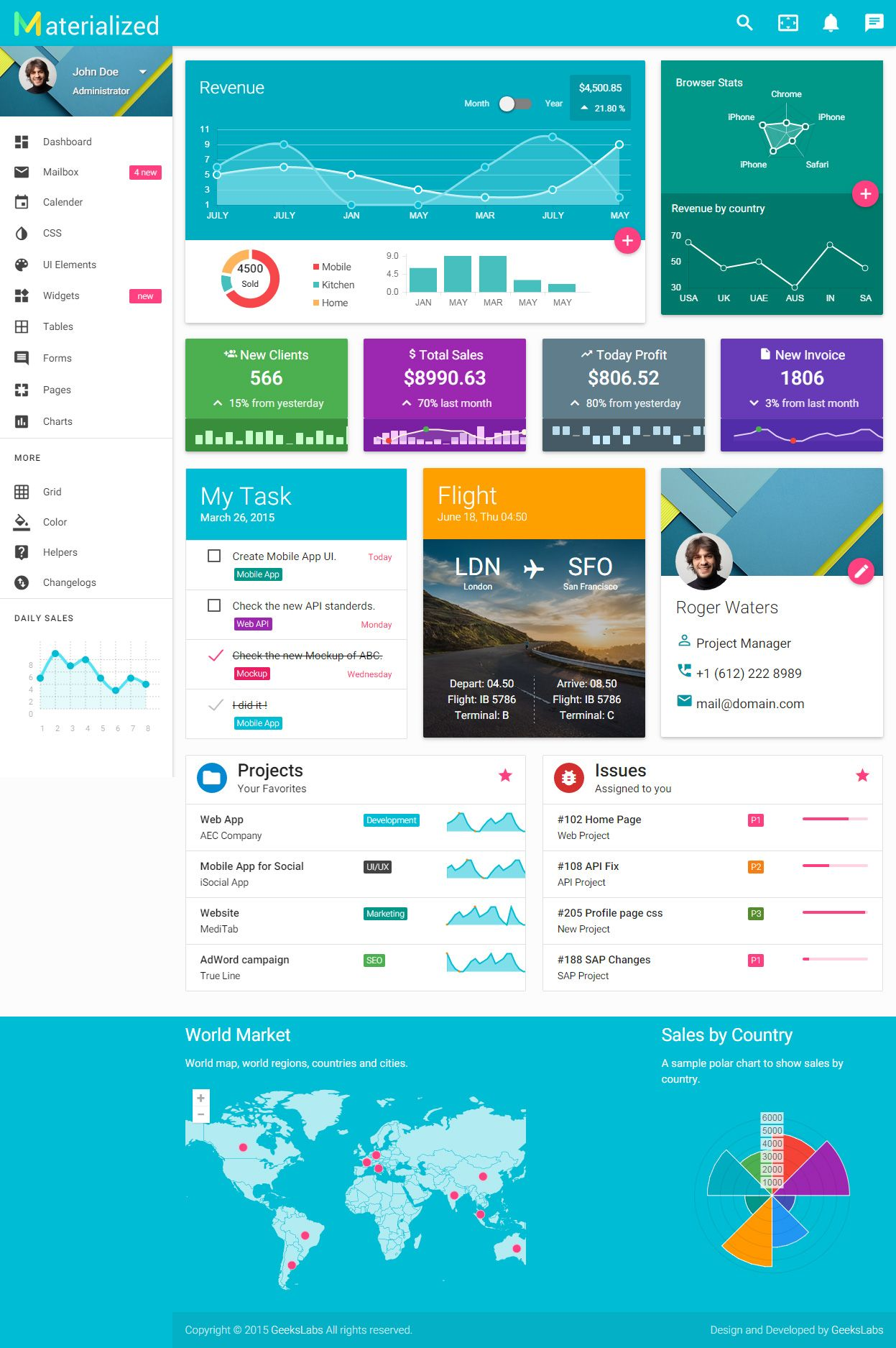 Materialize Premium Responsive Material Design HTML Template UX - Google design templates