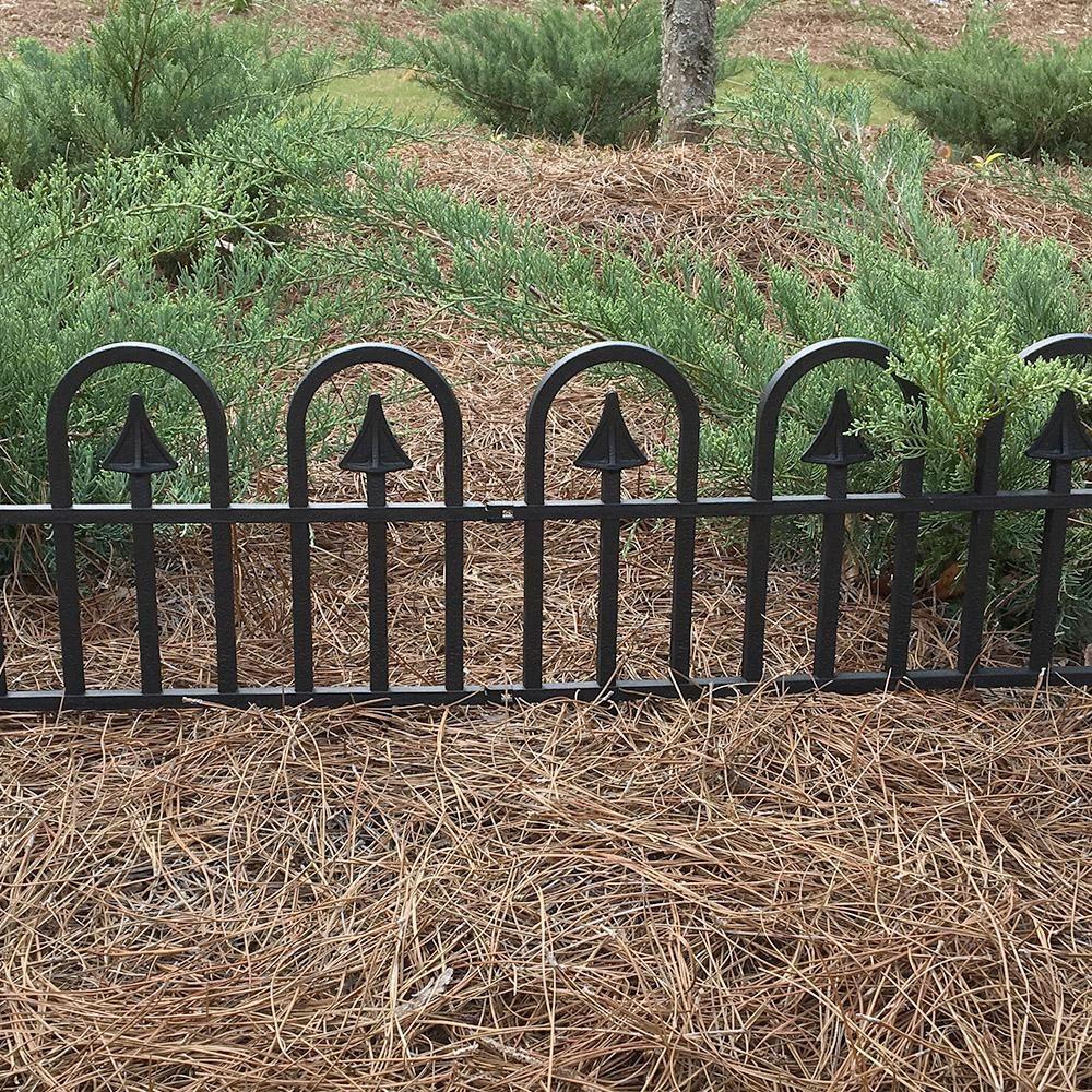 Vigoro 12 In H Black Resin Garden Border Fence 51504 The Home Depot Black Garden Fence Garden Borders Garden Fence Panels