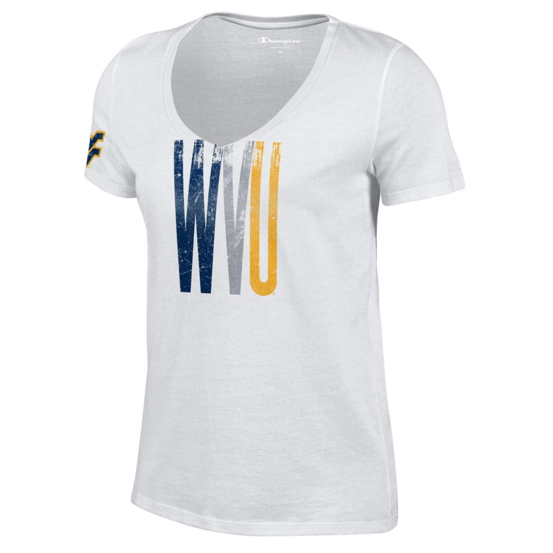 WVU Skinny Print University V-Neck Tee Shirt - Women's