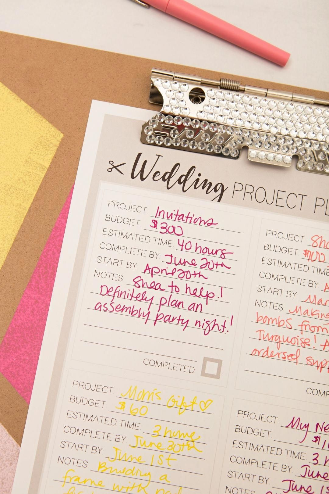 print out out this diy wedding project planner sheet for free
