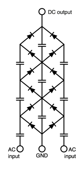File:Full wave Cockcroft Walton Voltage multiplier.png