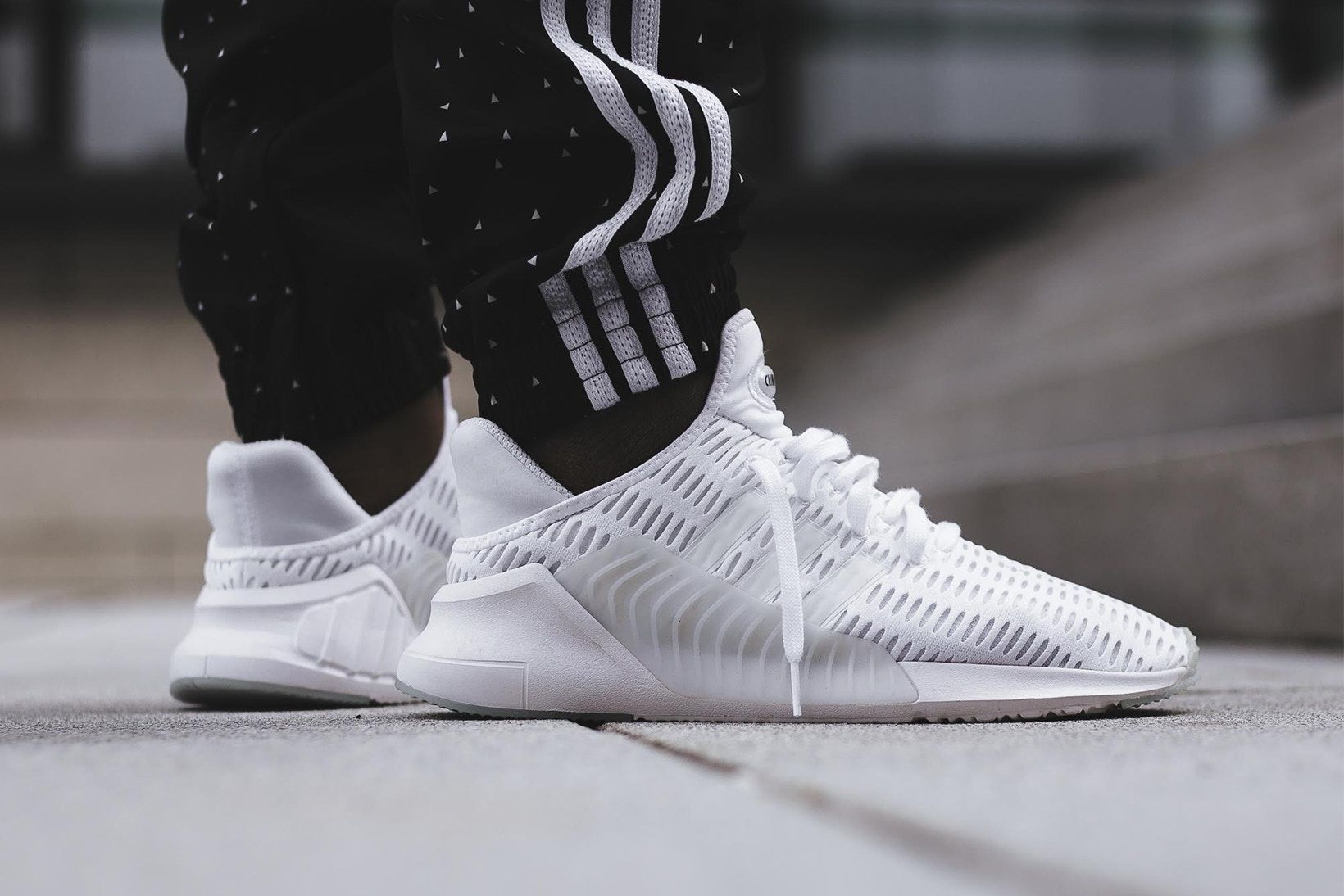 adidas ClimaCool 02 17 Triple White Black On Feet Sneakers Shoes Footwear  2017 August Release Date