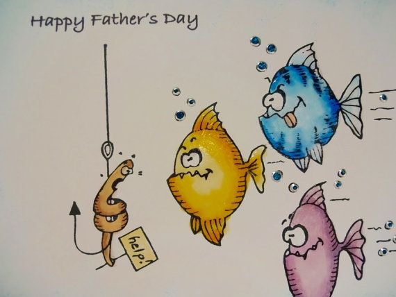 Fathers Day Card Funny Fish Gone Fishing By PaperTreasuresShoppe Dad Birthday Cards