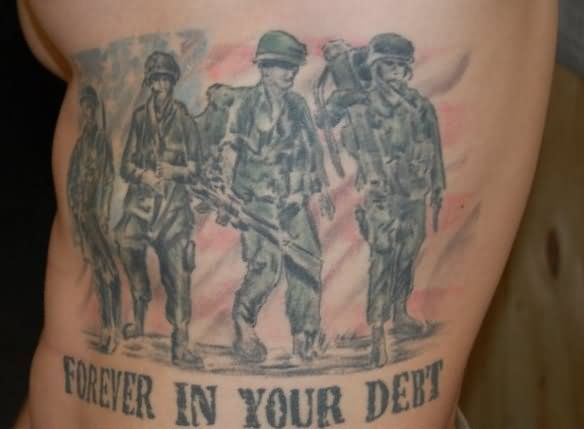 soldiers tattoo on bicep patriotic pinterest soldier tattoo tattoo and army tattoos. Black Bedroom Furniture Sets. Home Design Ideas
