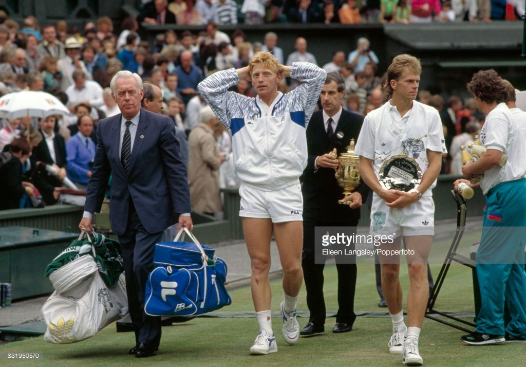 Boris Becker Of Germany Left And Stefan Edberg Of Sweden After The Presentation For The Men S Singles Title During Th In 2020 Stefan Edberg Boris Becker Mens Fitness