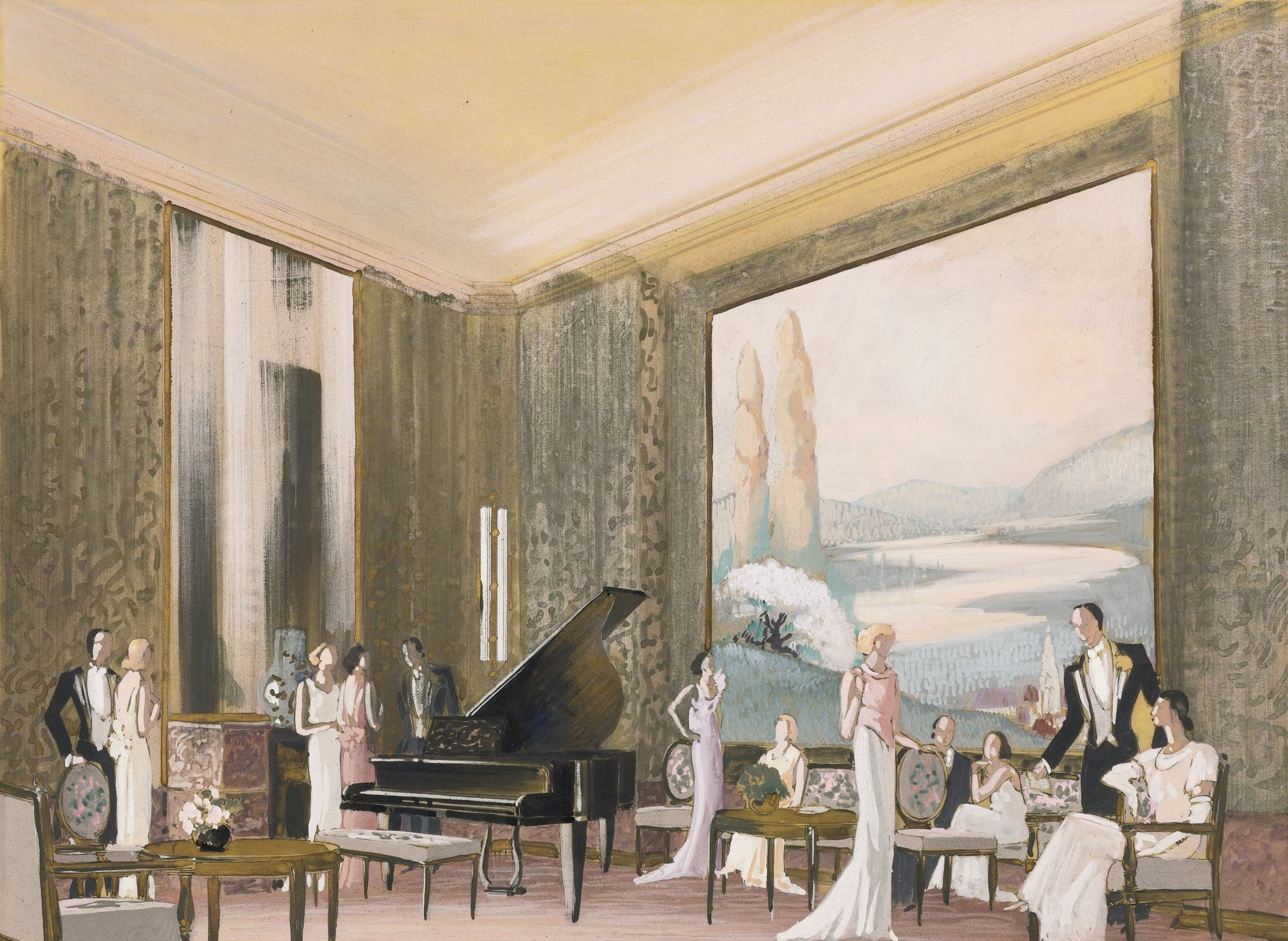 Ladies drawing and music room, French Lines Normandie.