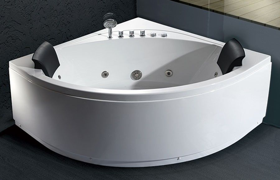 EAGO AM200 5 Rounded Modern Double Seat Corner Whirlpool Bath Tub ...