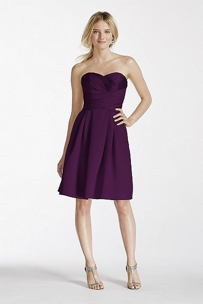 a28f4bb2236 On Sale right now for  120 - in Apple (color above is Plum) David s Bridal  Bridesmaids  Short Strapless Satin Dress with Pockets F17001