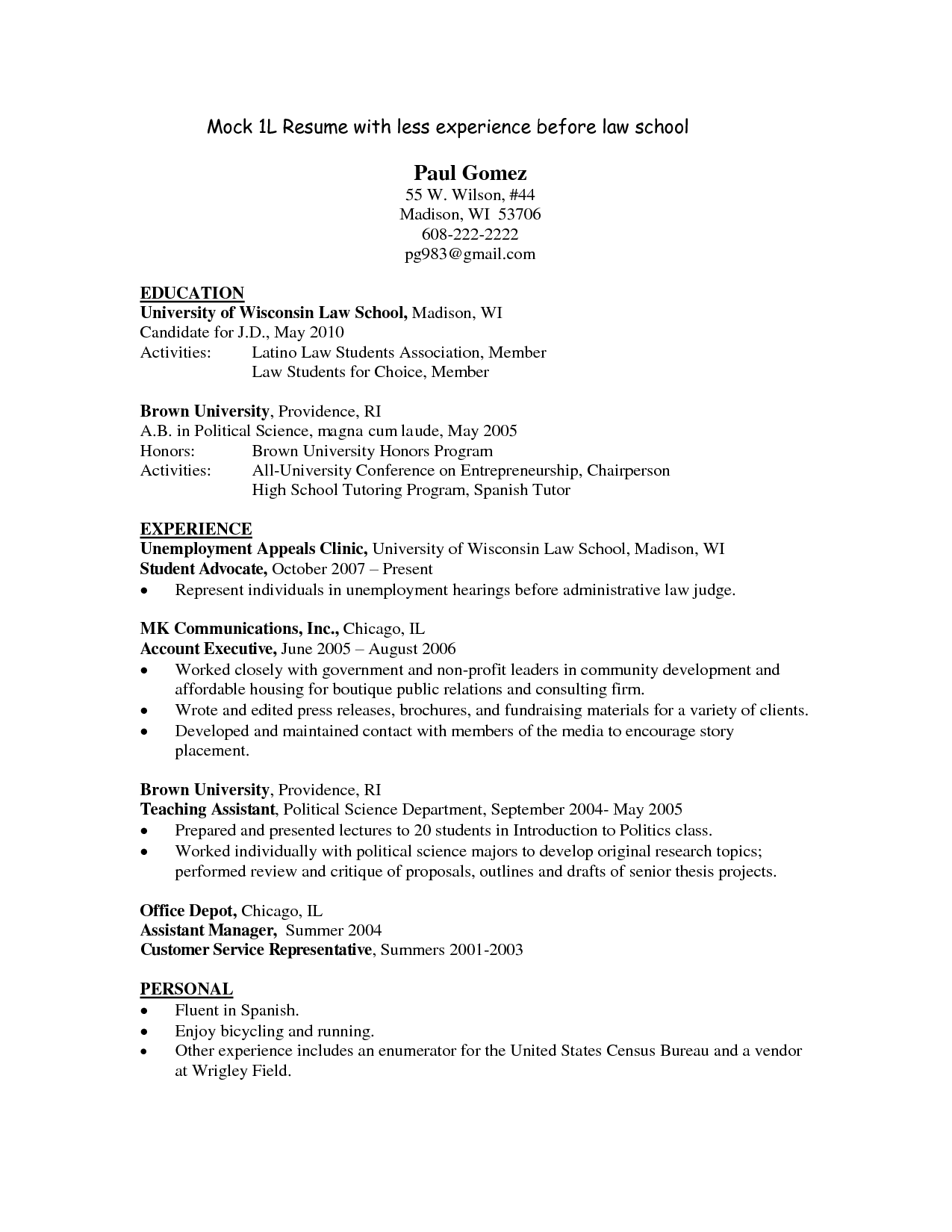 resume templates for law students