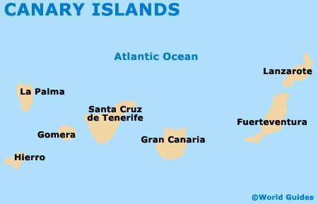 Map of the Canary Islands of the coast of Spain. | Genealogy ... Canary Islands Map on