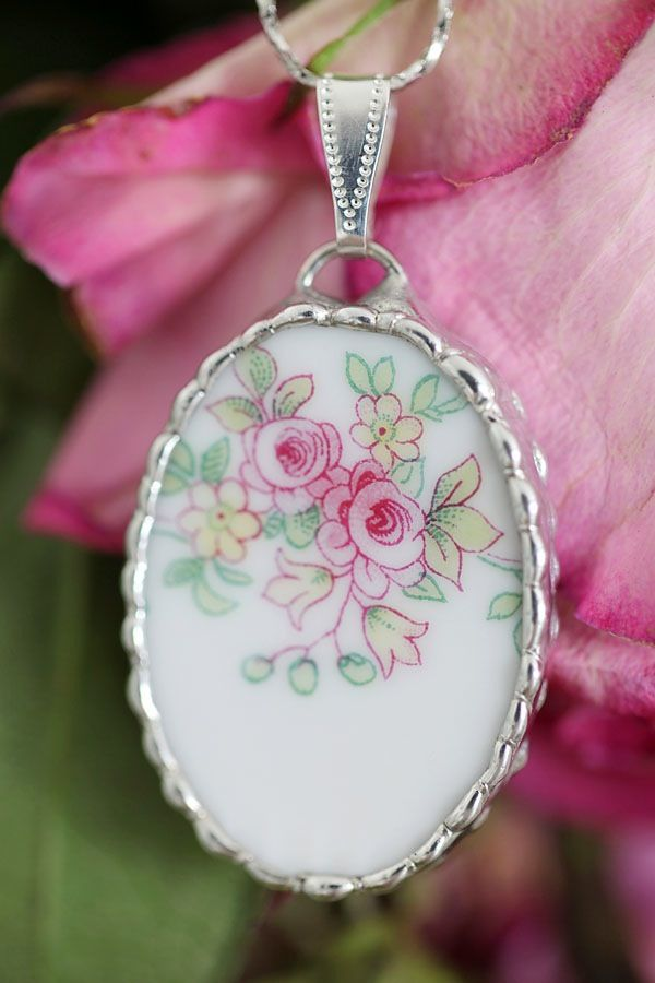 $20  Antique Haviland Limoges Roses Pendant On Silver Chain...FREE U.S. Shipping