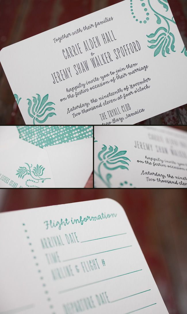 Mecan letterpress wedding invitations for a tropical wedding in ...