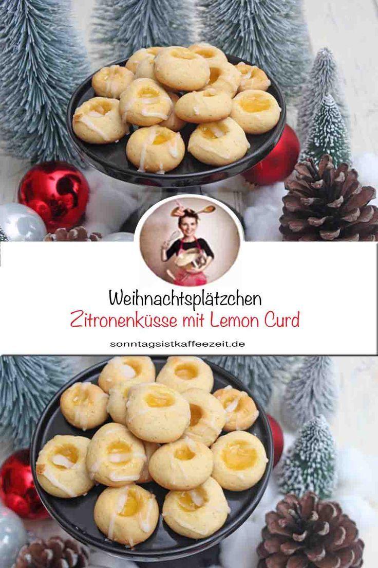 Zitronenküsse mit Lemon Curd – Einfaches und leichtes Weihnachtsplätzchen Rezept
