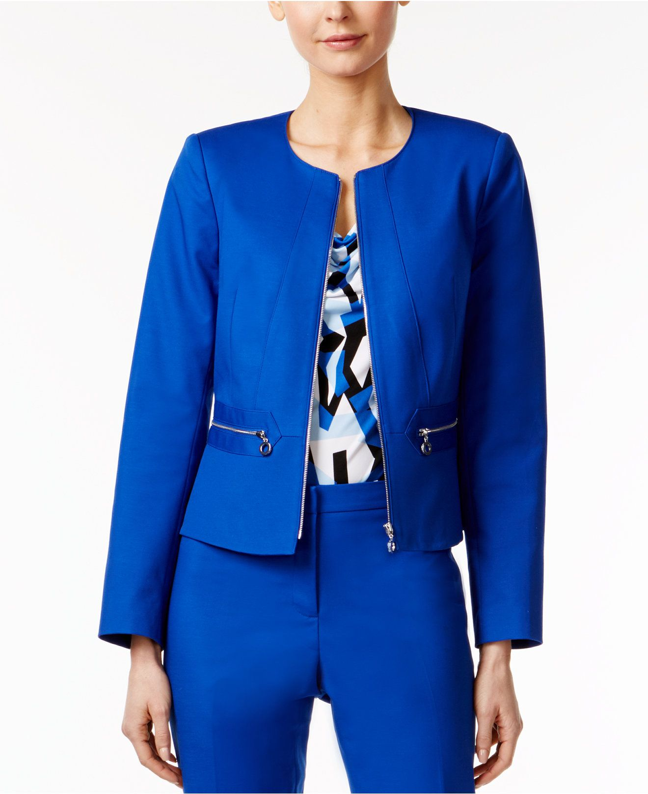 Blazer Back Up Calvin Klein Women Peplum Zip HS7SW01an