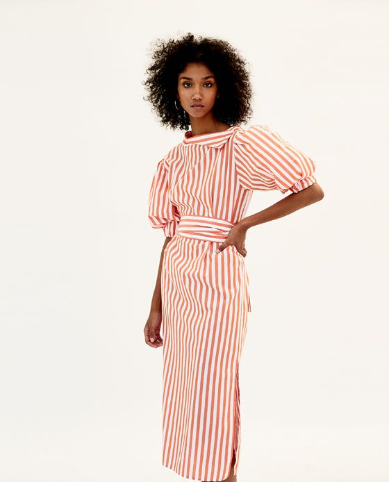 6225eeddeb09d VESTIDO MIDI RAYAS   ZARA   Pinterest   Dresses, Striped midi dress ...