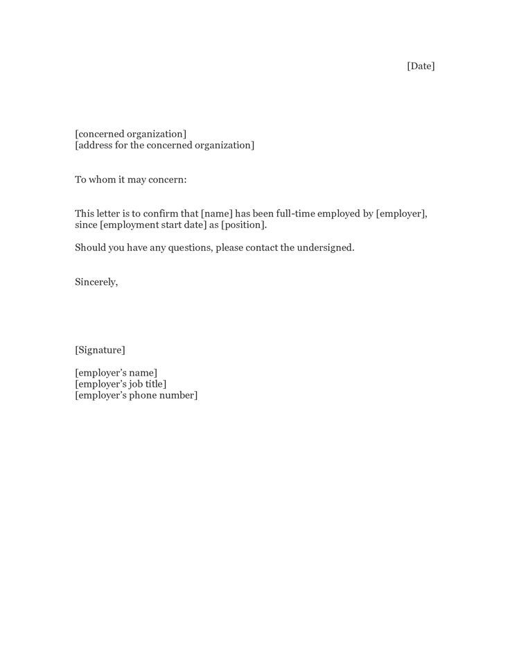 Proof Of Employment Letter - Sample Proof Of Employment Letters