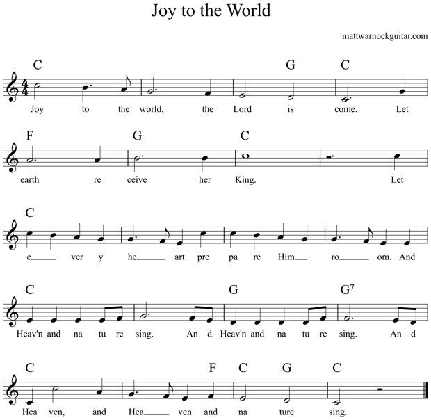 Joy to the World Guitar Chords 1 | Carols | Pinterest | Guitar ...