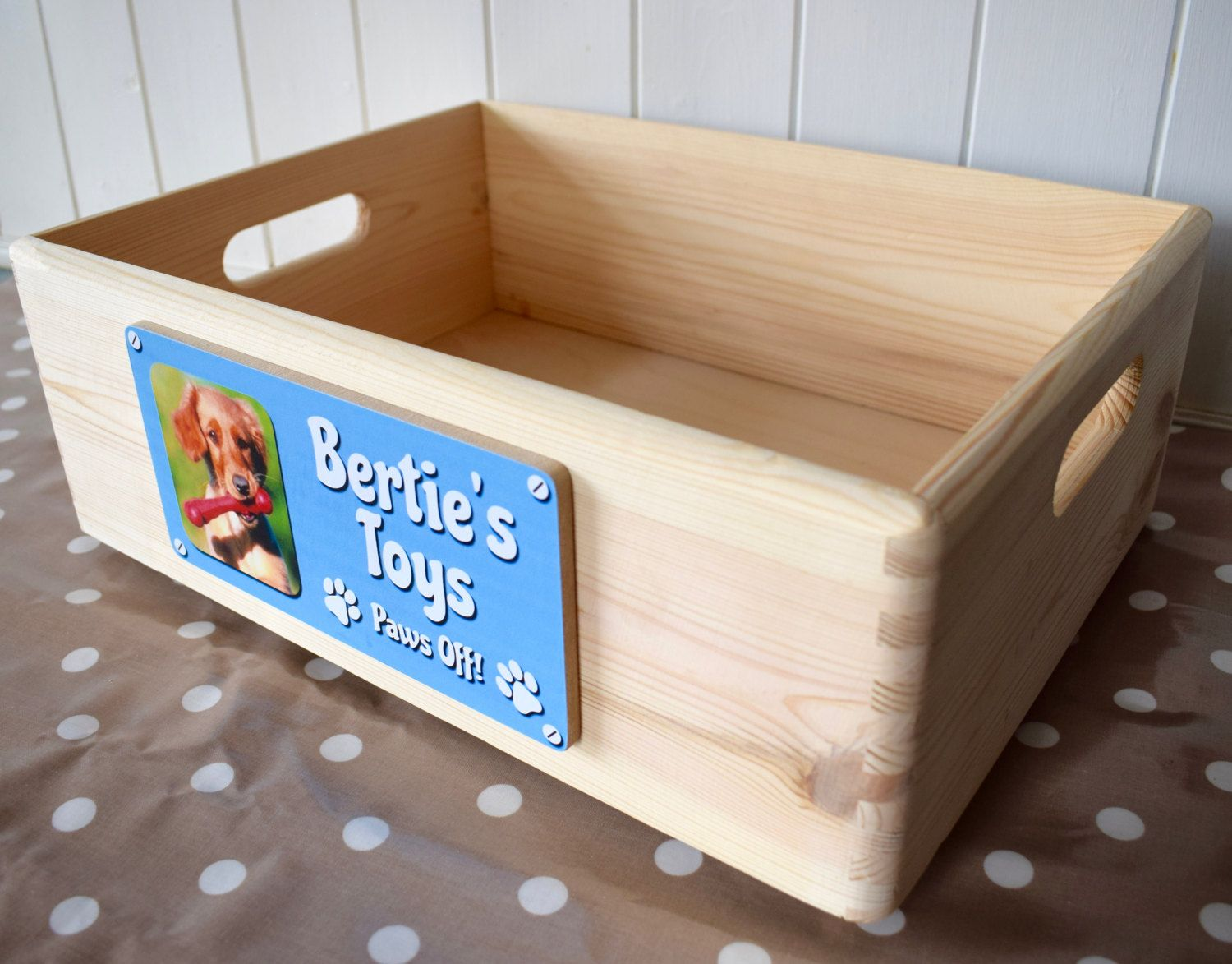Dog Toy Box Personalised Wooden Toy Box Dog Toy Storage Dog Toy