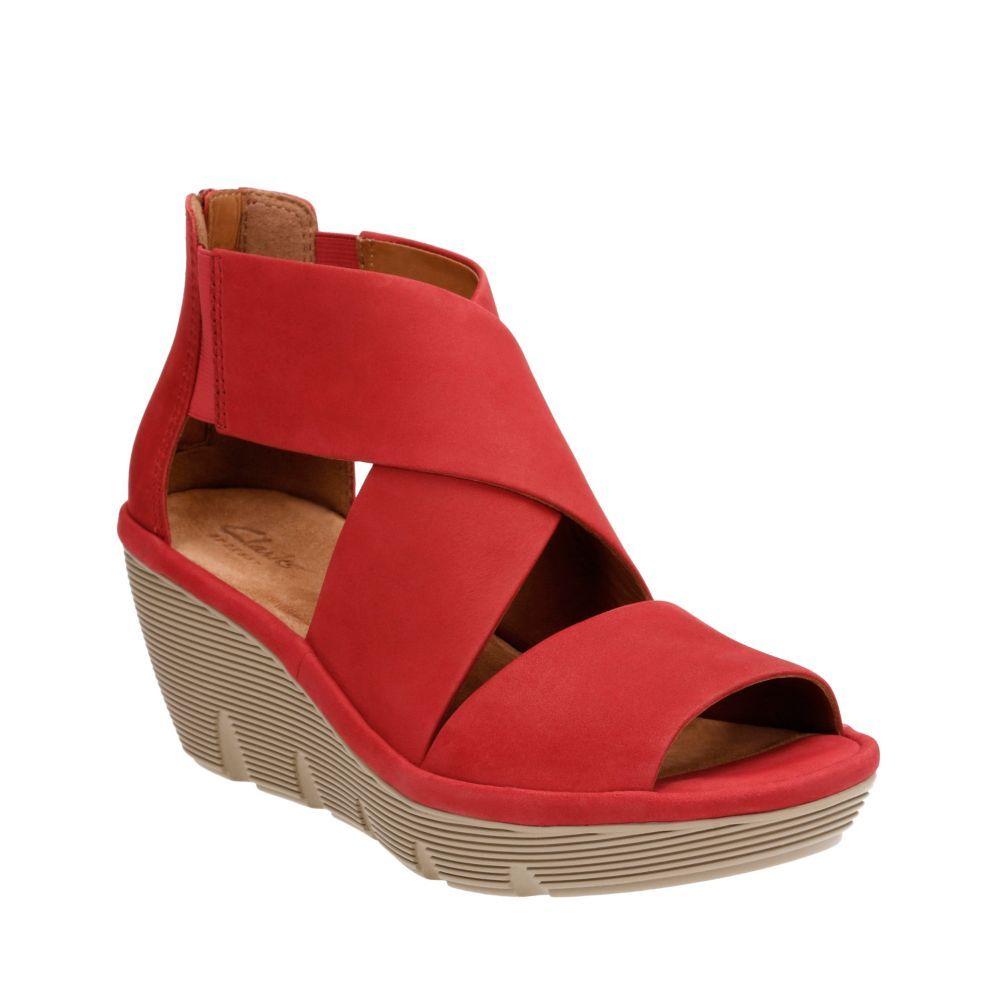 Clarks Women's Clarene Glamor Strappy Wedge Sandal, Size: 12 M, Red Cow  Nubuck