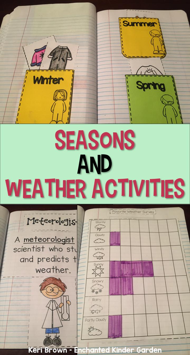 Seasons and Weather Unit Interactive Notebook   Kindergarten ...
