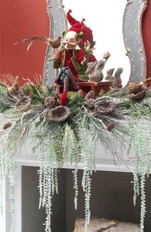 Mantel decoration using RAZ Forest Friends Elf, squirrels, birds, bird nest branches
