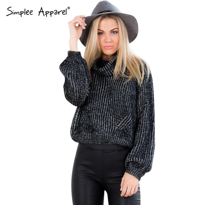 Simplee Apparel autumn winter turtleneck sweater short pullover ...