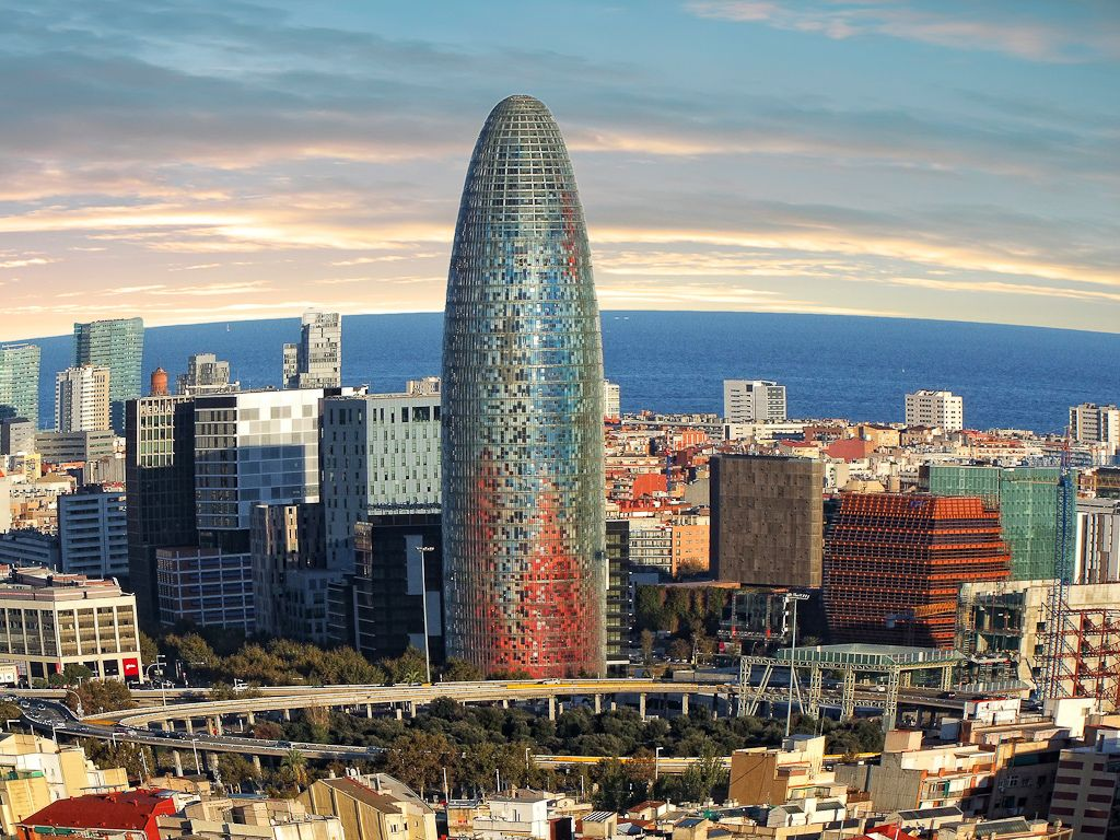 Tour Agbar Barcelone Texture Painting Tower Reflection And Refraction