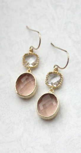 Champagne Peach Oval Framed Glass Drop with Clear Glass Connectors French Dangle Earrings