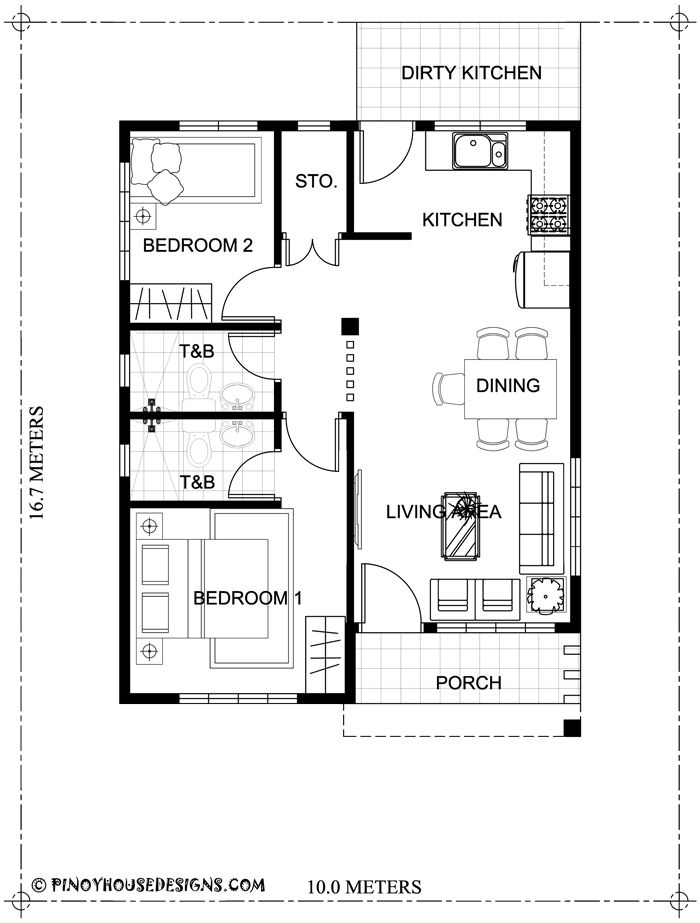Home Design Plan 10x16m With 2 Bedrooms With Images Small