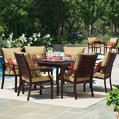 Canopy Shutter 7 Piece Patio Dining Set Seats 6 Aluminum With Faux Wood Finish On Clearance For 600
