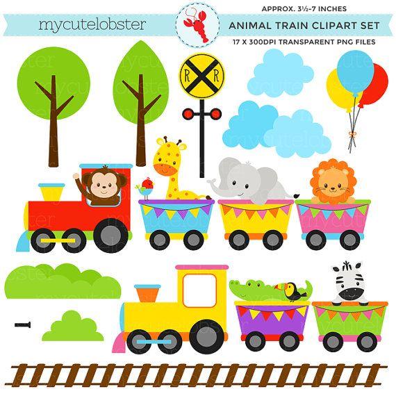 Animal Train Clipart Set Clip Art Set Of Animals Train
