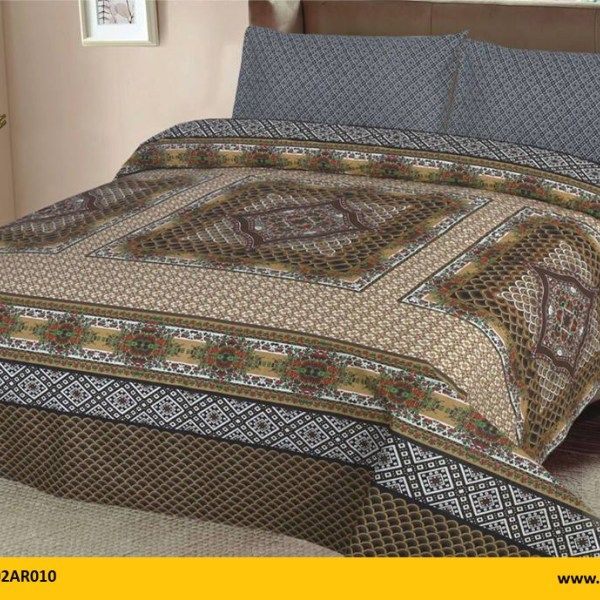 Kt1002ar010 Brand Name Aroosh 3 Pcs Printed Bed Sheets 100 Cotton 1 King
