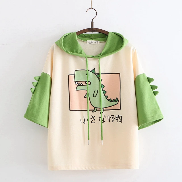 Kawaii Cartoon Dinosaur Hooded T-shirt