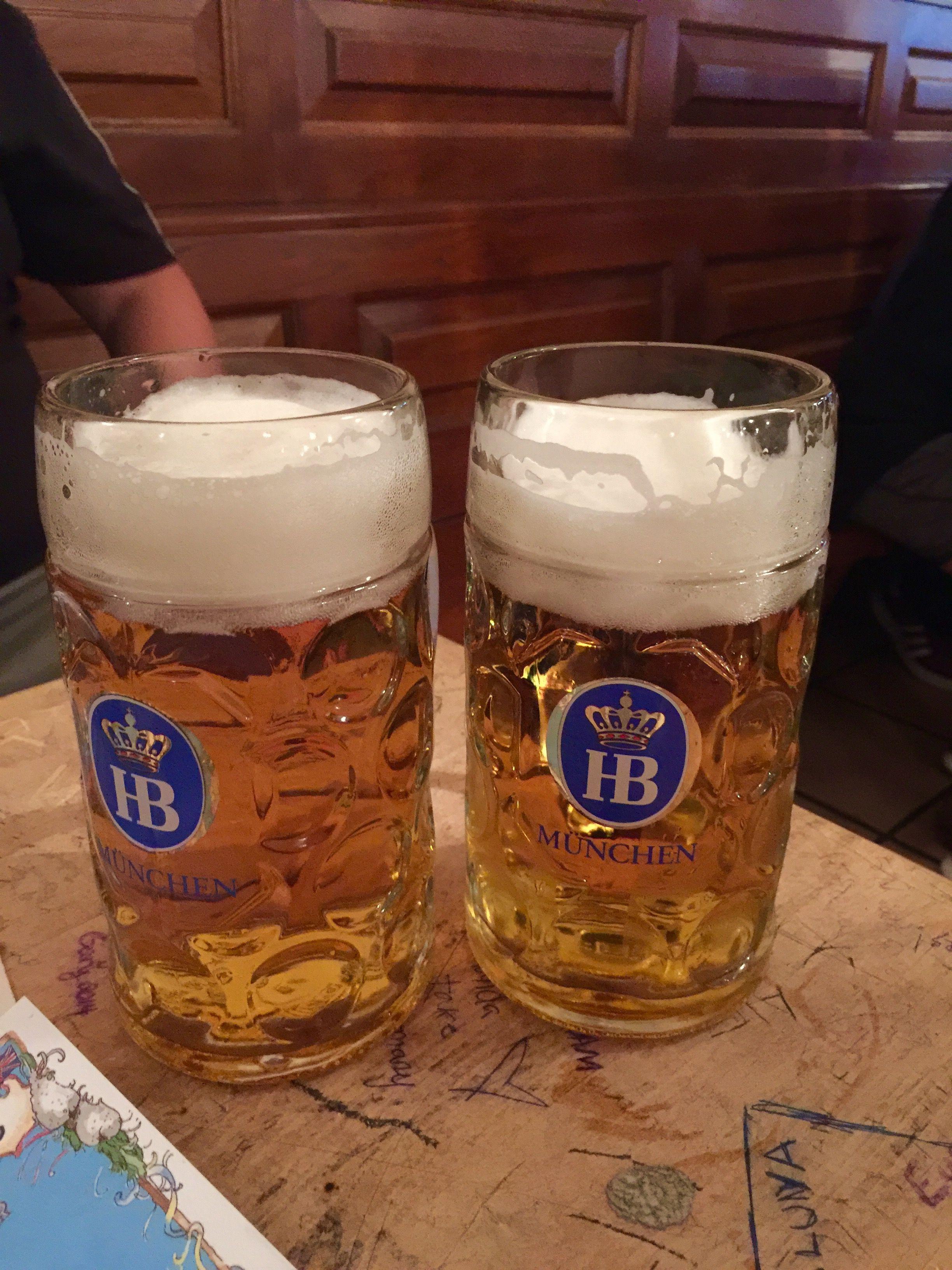 Steins Of Beer Hofbrau House Munich Germany