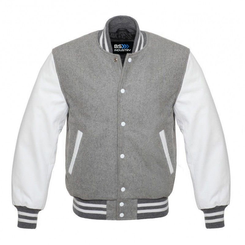 Varsity Jacket Baseball Football Sports Varsity Jacket Wool & Genuine Leather Grey/White (CUSTOMIZE YOUR PRODUCTS ON A REASONABLE PRICE) #varsityjacketoutfit