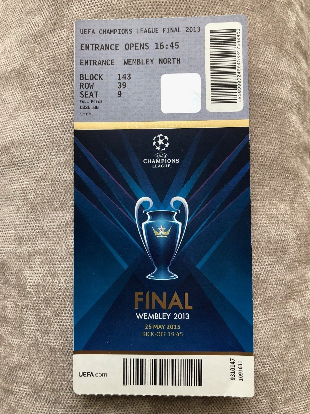 7804fa348b9 2013 UEFA Champions League Final Wembley Bayern Munich Borussia Dortmund  Ticket (eBay Link)