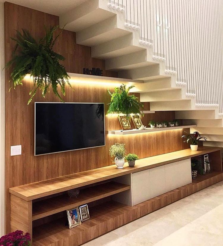 Pin By Léia Stevanatto On Sala Room Stairs In Living Room Living Room Under Stairs Home Stairs Design