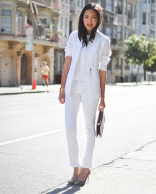 Work Style: An all-white ensemble is surprisingly fresh and modern. The blazer made it work for the office.