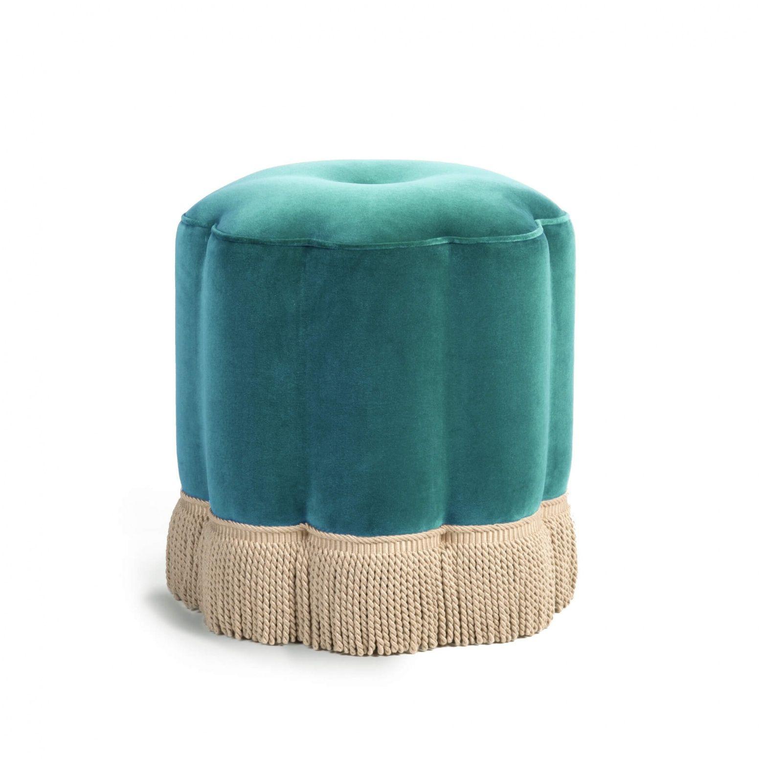 Fringed flower footstool orange velvet velvet footstool