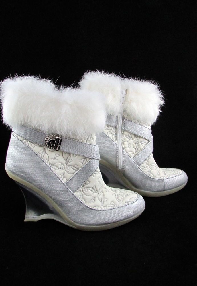 B Baby Phat Silver Metallic White Fur Rimmed Clear Wedge Heel Ankle Boots Babyphat Fashionankle Boots