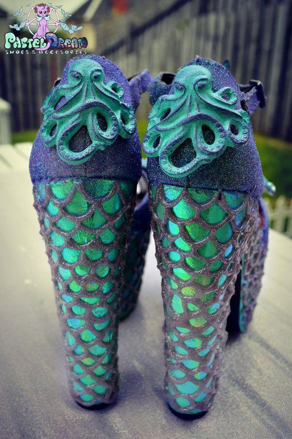 mermaid scales heels seashells custom made platform wedge ...